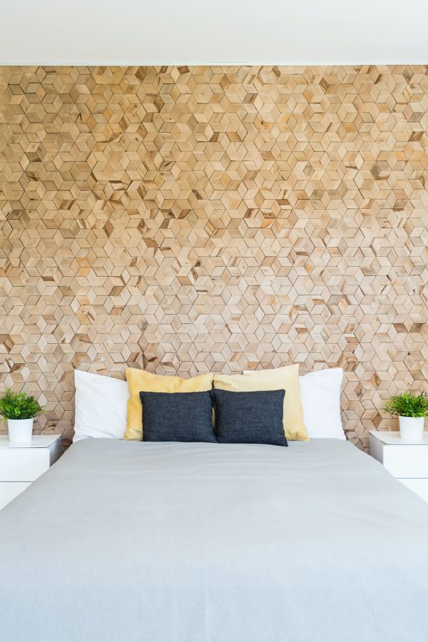 Scandynacian style cork wall in bedroom